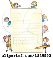 Clipart Of A Sketched Sheet Of Paper With Children Holding Pencils Royalty Free Vector Illustration