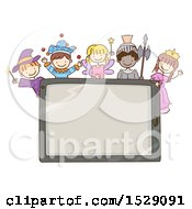 Clipart Of A Sketched Computer Tablet With Children In Fairy Tale Costumes Royalty Free Vector Illustration