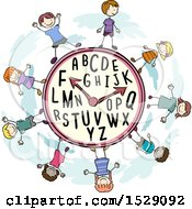 Clipart Of A Clock With Alphabet Letters And Sketched Children Royalty Free Vector Illustration