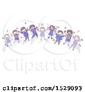 Clipart Of A Sketched Group Of Children Wearing Indigo Royalty Free Vector Illustration
