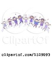 Sketched Group Of Children Wearing Indigo