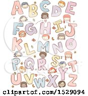 Poster, Art Print Of Sketched Group Of School Children With Alphabet Letters