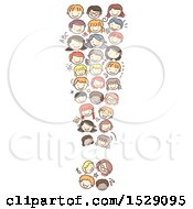 Clipart Of A Sketched Exclamation Point Of Child Faces Royalty Free Vector Illustration