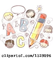 Sketched Pencil With School Children Icons And Alphabet Letters