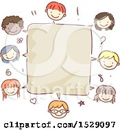 Clipart Of A Blank Speech Box Bordered With Faces Of Children Royalty Free Vector Illustration