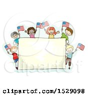 Clipart Of A Sketched Group Of Children Waving American Flags Around A Sign Royalty Free Vector Illustration