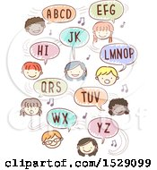 Clipart Of A Sketched Group Of Children Singing The Abc Song Royalty Free Vector Illustration