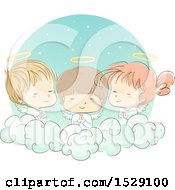 Clipart Of A Sketched Group Of Angel Children Praying On A Cloud Royalty Free Vector Illustration