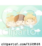 Clipart Of A Sketched Group Of Angel Children In A Starry Sky Royalty Free Vector Illustration