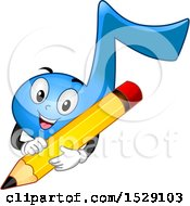 Blue Eighth Music Note Character Holding A Pencil