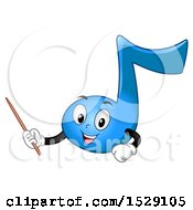 Clipart Of A Blue Music Note Character Holding A Pointer Stick Or Wand Royalty Free Vector Illustration
