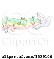 Clipart Of A Sketched Flying Dove With Music Notes Royalty Free Vector Illustration by BNP Design Studio