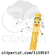 Clipart Of A Rainstick Character With A Cloud Rain And Music Notes Royalty Free Vector Illustration