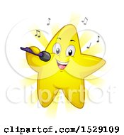 Clipart Of A Happy Yellow Star Character Singing Royalty Free Vector Illustration by BNP Design Studio