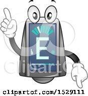 Clipart Of A Guitar Tuner Character Pointing Up And Down Royalty Free Vector Illustration