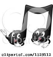 Clipart Of Black Quarter Music Note Characters Talking Royalty Free Vector Illustration