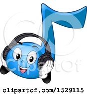 Clipart Of A Blue Eighth Music Note Character Wearing Headphones Royalty Free Vector Illustration