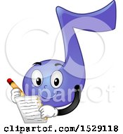 Clipart Of A Purple Eighth Music Note Character Writing A Song Royalty Free Vector Illustration