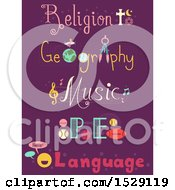 Poster, Art Print Of Text Designs For School Subjects Like Religion Geography Music Physical Education And Language On Purple
