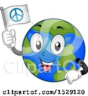 Clipart Of A Globe Earth Character Holding A Peace Flag Royalty Free Vector Illustration