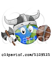 Clipart Of A Globe Earth Viking Character With A Shield And Axe Royalty Free Vector Illustration