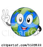 Poster, Art Print Of Globe Earth Character Gesturing Peace