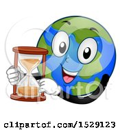 Clipart Of A Globe Earth Character Holding An Hourglass Royalty Free Vector Illustration