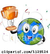 Clipart Of A Globe Earth Character Holding A Trophy Royalty Free Vector Illustration