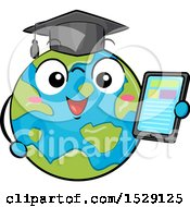 Clipart Of A Globe Earth Graduate Character Holding A Tablet Royalty Free Vector Illustration