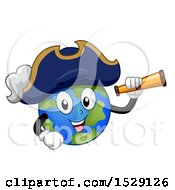 Clipart Of A Globe Earth Captain Pirate Character Holding A Telescope Royalty Free Vector Illustration by BNP Design Studio