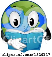 Clipart Of A Globe Earth Character Reading Royalty Free Vector Illustration
