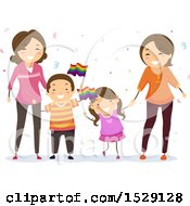Clipart Of Lesbian Parents With Their Children Waving Lgbtq Rainbow Flags Royalty Free Vector Illustration