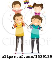 Clipart Of Happy Children Waving Lgbtq Rainbow Flags While Sitting On Shoulders Of Their Dads Royalty Free Vector Illustration