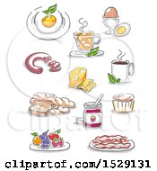 Clipart Of Sketched Breakfast Foods Egg Tea Coffee Sausage Jam Muffin Bacon Berries Bread And Soup Royalty Free Vector Illustration