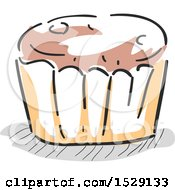 Clipart Of A Sketched Breakfast Muffin Royalty Free Vector Illustration