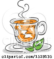 Clipart Of A Sketched Cup Of Hot Tea Royalty Free Vector Illustration