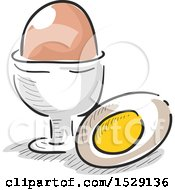 Clipart Of A Sketched Hard Boiled Egg Royalty Free Vector Illustration