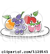 Clipart Of A Sketched Plate Of Fruit Royalty Free Vector Illustration