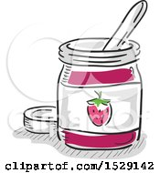 Clipart Of A Sketched Jar Of Strawberry Jam Royalty Free Vector Illustration