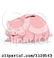 Clipart Of A Happy Fat Piggy Bank Royalty Free Vector Illustration