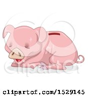 Clipart Of A Starving Or Sick Piggy Bank Royalty Free Vector Illustration by BNP Design Studio