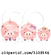 Clipart Of A Piggy Bank Family Royalty Free Vector Illustration