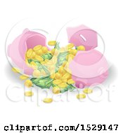 Clipart Of A Cracked Open Piggy Bank With Cash And Coins Royalty Free Vector Illustration