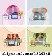 Clipart Of Cafe Shop Storefronts With Outdoor Seating Royalty Free Vector Illustration