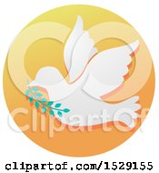 Clipart Of A Dove Of Peace Christian Icon On A Gradient Circle Royalty Free Vector Illustration