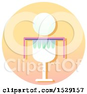 Clipart Of A Eucharist Chalice Christian Icon On A Gradient Circle Royalty Free Vector Illustration