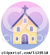 Clipart Of A Church Christian Icon On A Gradient Circle Royalty Free Vector Illustration
