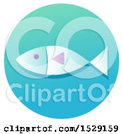 Clipart Of A Ichthys Fish Christian Icon On A Gradient Circle Royalty Free Vector Illustration
