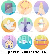 Clipart Of Christian Icons On Gradient Circles Bible Rosary Hand In Prayer Dove Cross Eucharist Church Fish To Kneeling Bench Royalty Free Vector Illustration