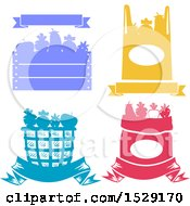 Silhouetted Crate Shopping Bag Basket And Sack Full Of Produce With A Banner